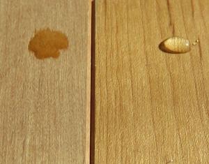 塗装有り無しを水滴を垂らして比較